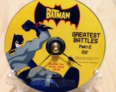 CD Clock, Desk Clock, Wall Clock, Batman DVD, CD, Recycled Music Compact Disc, Upcycle, Battery, Wall Hanger & Stand