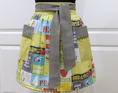Womens Retro Half Apron, Cute Moden Chic Kitchen Waist Aprons - Canning Farmers Recipe Cards
