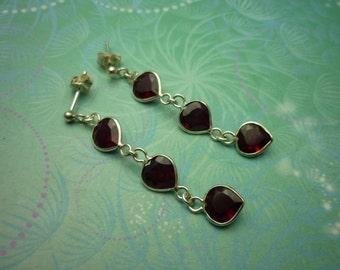 Vintage Sterling Silver Earrings - 3 drop Garnet Hearts