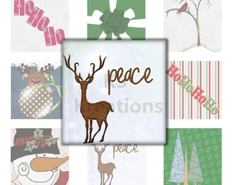 Christmas Holiday - 15- 1x1 inch - Digital Collage Sheet Printable Instant Download  for Glass, Resin Square Pendants & Magnets