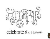 Celebrate the Season Gently Used Unity Stamp Itty Bitty Red Rubber Stamp Mounted on Cling Foam Holiday Christmas Ornaments