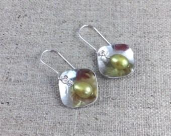 Green Fresh Water Pearl & Sterling Silver Earrings