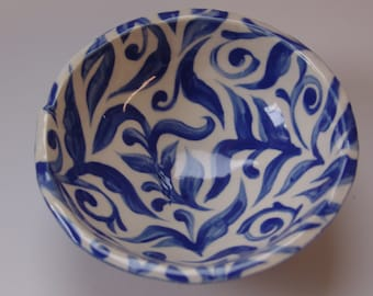 whimsical pottery Rice Bowl ceramic dish with delft blue pattern & fun polka-dots, blue china decorative serving bowl