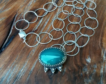 Green Agate and Sterling Silver Pendant Necklace