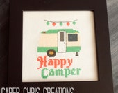 Happy Camper Counted Cross Stitch Pattern, Retro Camper, pdf, Instant Download