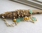 Chalcedony Freshwater Pearl Gold Filled Long Layered Necklace