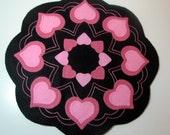 "17"" Wool Felt VALENTINE HEARTS Candle Mat - Penny Rug - Primitive Hearts - Folk Art Hearts - Country Hearts - Home Decor - Original Design"