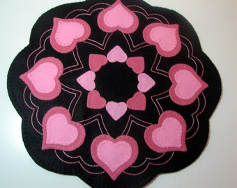 "17"" Wool Felt VALENTINE HEARTS Candle Mat - Penny Rug - Primitive Hearts - Folk Art Hearts - Country Hearts - Home Decor - Original Design"