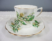 Lefton Lily of the Valley Bone China Teacup and Saucer