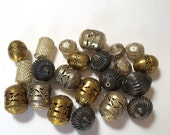 Lot of 24 Large Pierced Gold Tone, Silver Tone, and Antiqued Finish Metal Beads