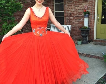 Vintage Evening Gown - Red - XS - Silk Organdy over Satin - Beaded Ball Gown