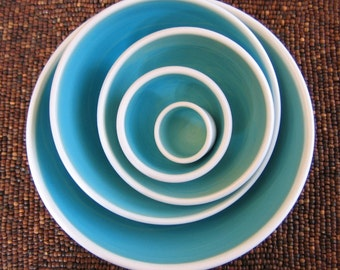 Ceramic  Nesting Bowls in Turquoise Blue - Large Set of Stoneware Pottery Serving Bowls