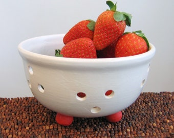 Berry Bowl - Small Footed Ceramic Berry Bowl with Saucer - Modern White Stoneware Pottery
