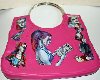 Hot Pink Harley Quinn Purse Decoupaged Harley Quinn Handbag