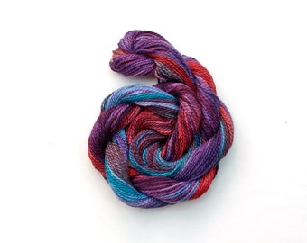 Hand dyed cotton perle 8 embroidery thread, purple, violet, red, blue, space dyed thread. variegated crochet yarn, cotton perle tatting yarn