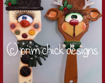 BRUSH BUDDIES - snowman reindeer winter Christmas decoration potted plant poke prim chick teamhaha lisa robinson