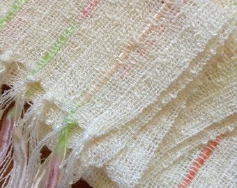 handwoven scarf creamy chiffon white lightweight