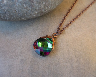Swarovski Crystal Necklace, Green, Fuchsia, Pink, Purple, Antiqued Copper, Irisjewelrydesign
