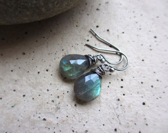 Green Labradorite Oxidized Silver Earrings, Wire Wrapped, Green Earrings, Gemstone Earrings