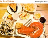 SALE Vintage 50s Postcard - MAINE Postcard - 60s Maine - Vintage Maine - Maine Photo Post Card - Lobster Bake - Downeast Feast - Maine Lobst