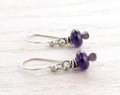 Amethyst Earrings, Purple Earrings, February Birthstone, Minimalist, Sterling Silver, Wire Wrap, #4592