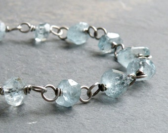 Aquamarine Gemstone Bracelet, Faceted Rustic Blue Stones, Boho Layering Bracelet, March Birthstone, Sterling Silver, Wire Wrapped, #3824