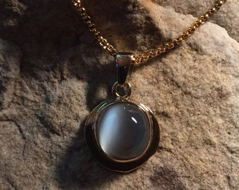 OOAK 18k recycled gold pendant with catseye moonstone cabochon