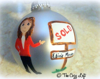 Realtor Ornament Christmas Decor Hand Painted Original Art Personalized, Custom Realtor Thank You Gift, Unique Gift for Real Estate Agent