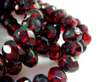 10 Red Picasso Czech Faceted Glass Rondelle Bead 8x6mm Transparent Ruby Red - 10 pc - G6041-RBP10-AG