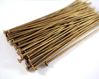 50 Bronze Headpins NF Antique Plated Iron 2 inch, 20-21 Gauge NF - 50 pc - F4001HP-AB50