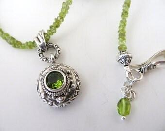 Peridot Gemstone Necklace With Bali Silver & Peridot Pendant