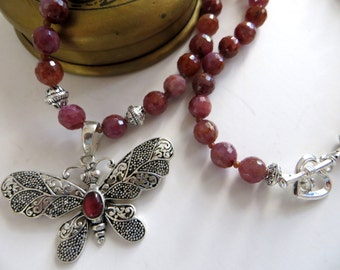 Natural Ruby Butterfly Pendant Necklace, Bali Sterling Silver Pendant