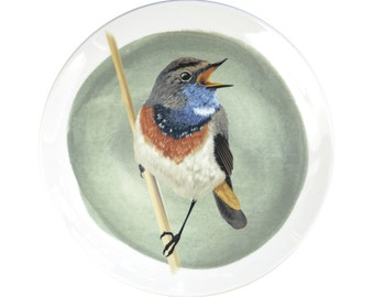Porcelain wall plate with the bird illustration - Bluethroat- made to order
