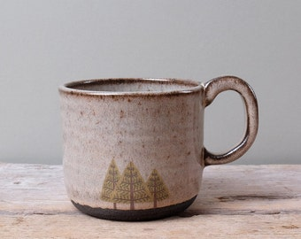 Black Ceramic Pine Trees Mug with Grey Glaze