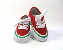 Watermelon Shoes, Hand Painted Red Canvas Sneakers, For Baby and Toddlers