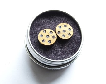 Spotty wooden earrings round bamboo polka dot dotty scandi scandinavian minimalist