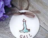 Personalized Bridesmaid Gift Ornament - Long Strapless Sweetheart Neckline Gown,  Bridesmaid Keepsake, Ceramic Ornament, Dated Ornament
