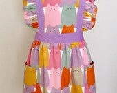 Apron / Lolita Apron / Dress Apron - Colorful Cat