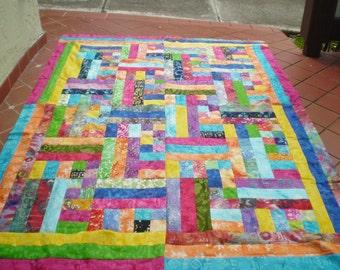 Unfinished Quilt top-Batik quilt top-Unfinished twin quilt top,quilt top,batik lap quilt,bright colored batik quilt top,Batik Hodge Podge