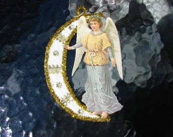 Angel Crescent Moon Christmas Ornament Cotton Batting Paper