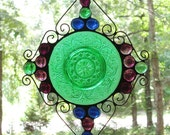 Stained Glass Plate - Vintage Green Plate with Purple, Cobalt Blue, and Green Nuggets
