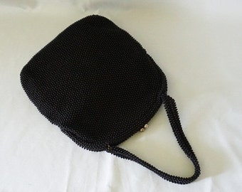 SALE Vintage 1950s Handbag Black Beaded Corde Bead with Rhinestone Clasp