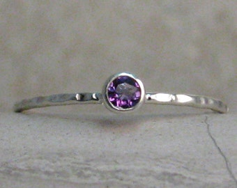 Dainty Gem Ring - February Birthstone Ring - Thin Amethyst Ring - 3mm Tiny Ring -  Any Single Birthstone - Made to Order - 1mm Stacking Band