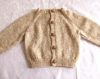 hand knit sweater, 6 - 12 mos size , Brown Bear Sweater, cardigan, brown tweed sweater, button front, toddler