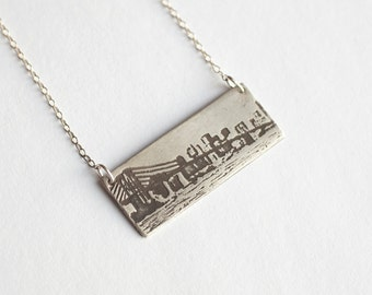 NYC Silver Necklace - Brooklyn Necklace - New York City Necklace - Skyline Necklace - New York Souvenir - Brooklyn Bridge - Brooklyn Jewelry