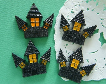 4 pcs Halloween Ghost House Cabochon (33mm36mm) DR373