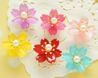 6 pcs  Plastic Gorgeous Sakura / Cherry blossom Flower Cabochon (19mm21mm) Mixed Colors FL420