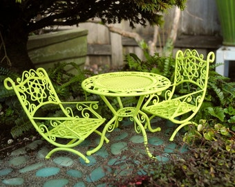 Miniature Garden Table and Chair Set in Pretty Lime Green for Mini Fairy Gardens Too, Dollhouse Miniature, Garden Miniatures, Custom Painted
