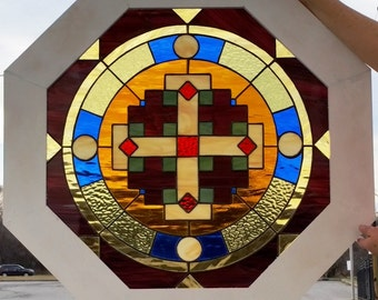 """Stained Glass Window - """"Circles & Crosses"""" (W-93)"""