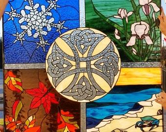 "Stained Glass Window - ""Four seasons & Celtic cross""  (W-78)"